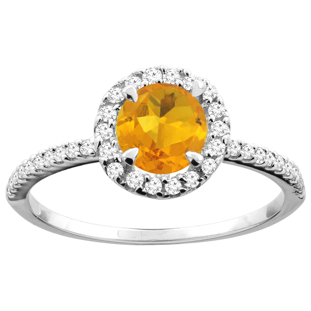 14K Gold Natural Citrine Ring Round 6mm Diamond Accents, sizes 5 - 10