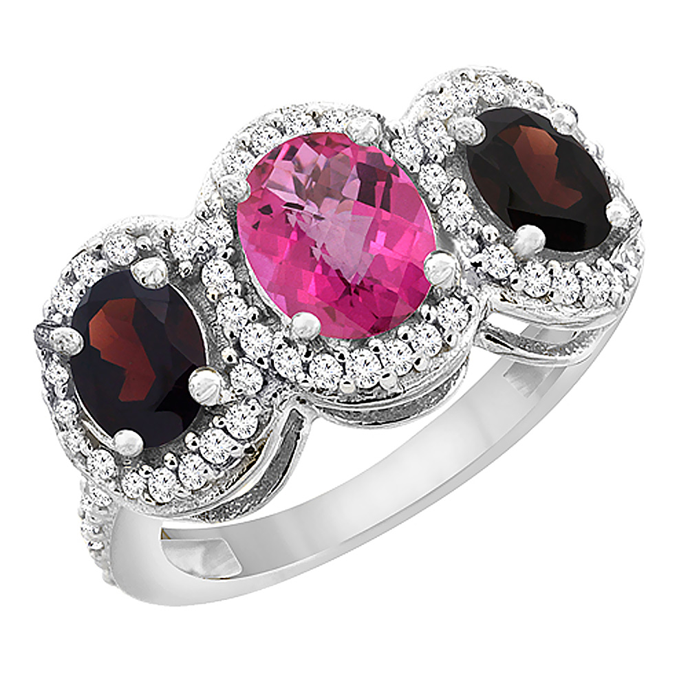 14K White Gold Natural Pink Sapphire & Garnet 3-Stone Ring Oval Diamond Accent, sizes 5 - 10