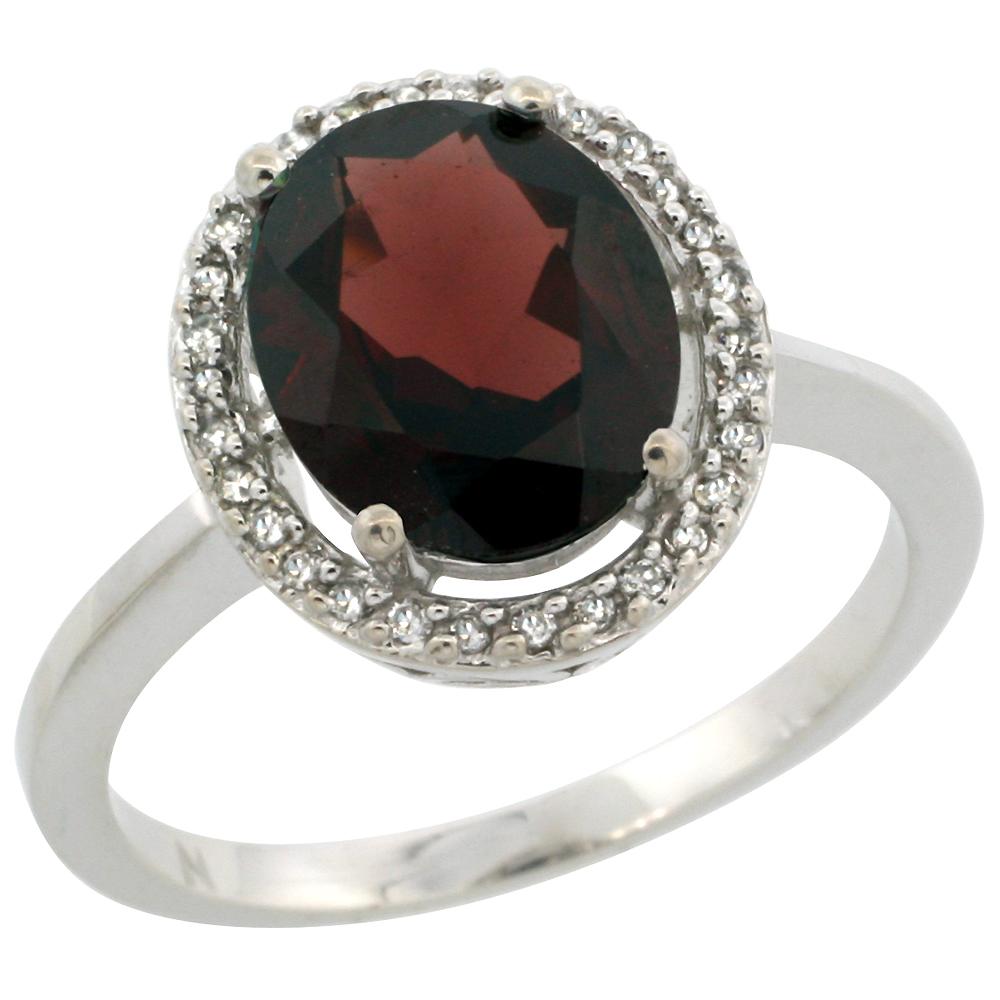 10K White Gold Diamond Halo Natural Garnet Engagement Ring Oval 10x8 mm, sizes 5-10