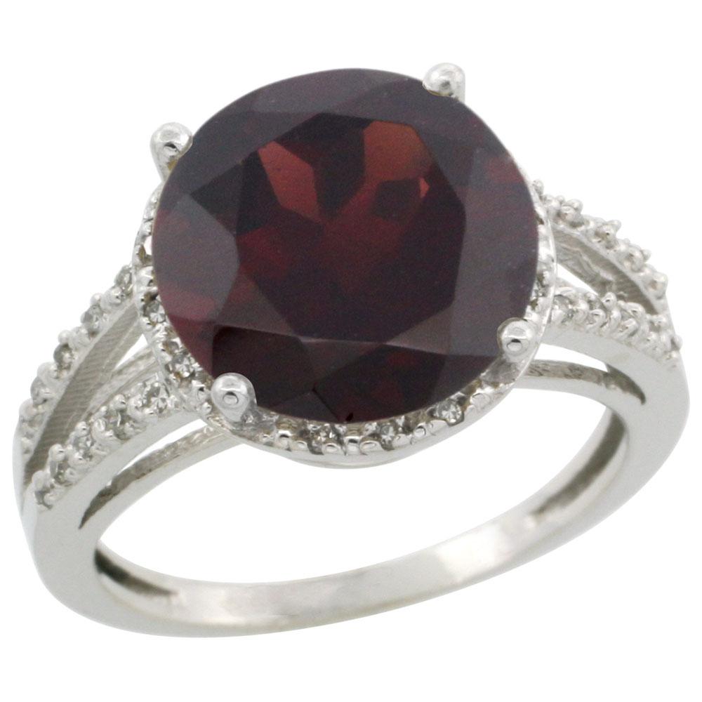 10K White Gold Diamond Natural Garnet Ring Round 11mm, sizes 5-10
