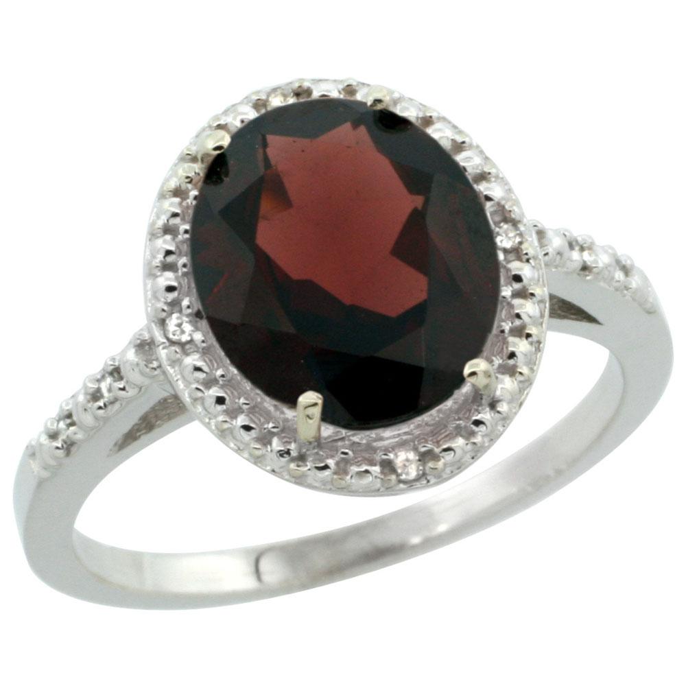 10K White Gold Diamond Natural Garnet Engagement Ring Oval 10x8mm, sizes 5-10