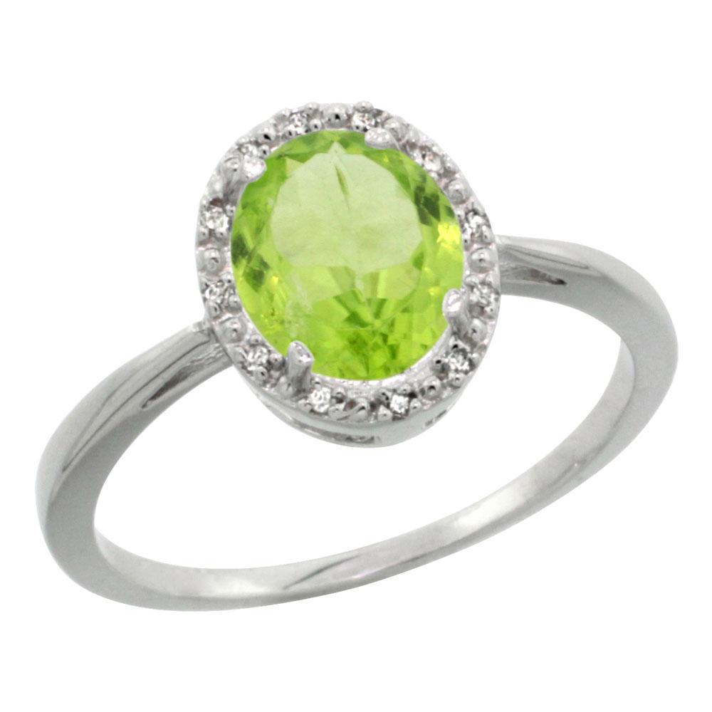 14K White Gold Natural Peridot Diamond Halo Ring Oval 8X6mm, sizes 5-10