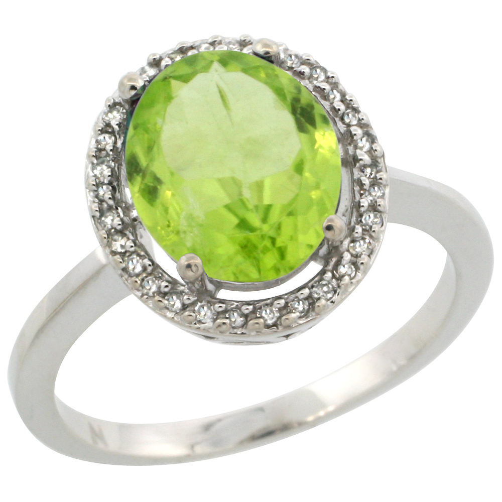 10K White Gold Diamond Halo Natural Peridot Engagement Ring Oval 10x8 mm, sizes 5-10