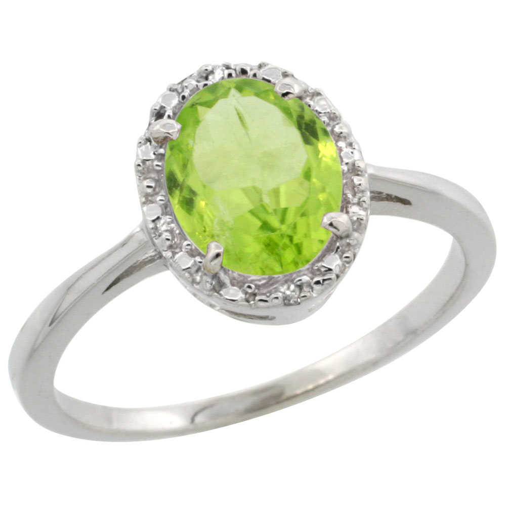 14K White Gold Natural Peridot Ring Oval 8x6 mm Diamond Halo, sizes 5-10