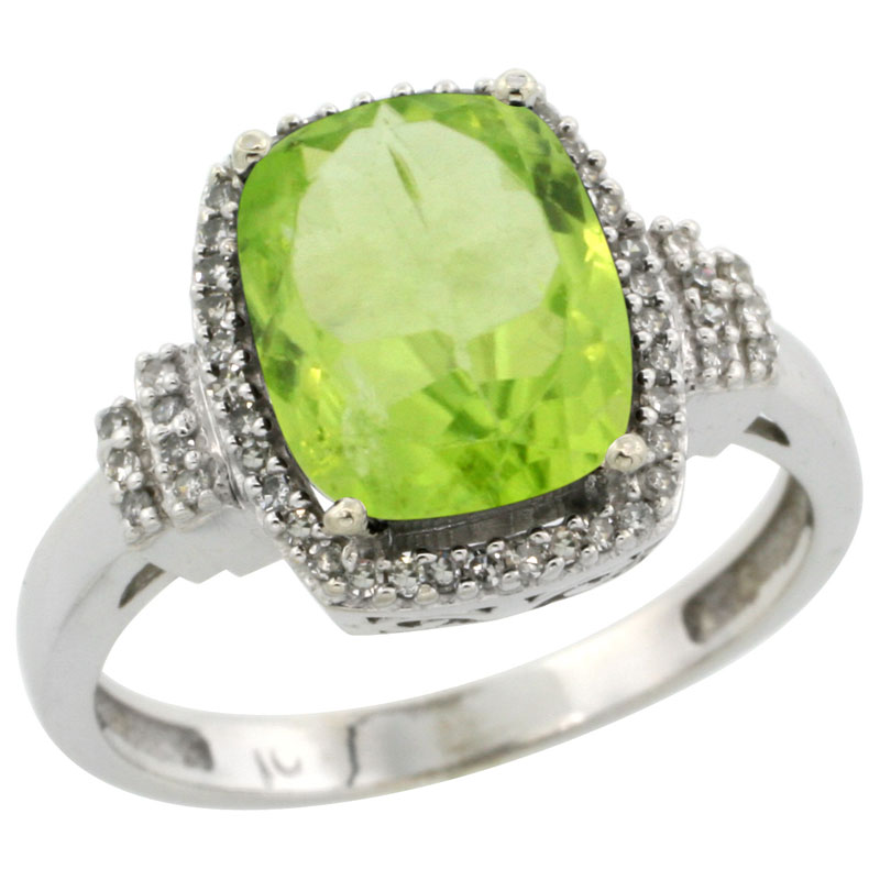 14K White Gold Natural Peridot Ring Cushion-cut 9x7mm Diamond Halo, sizes 5-10