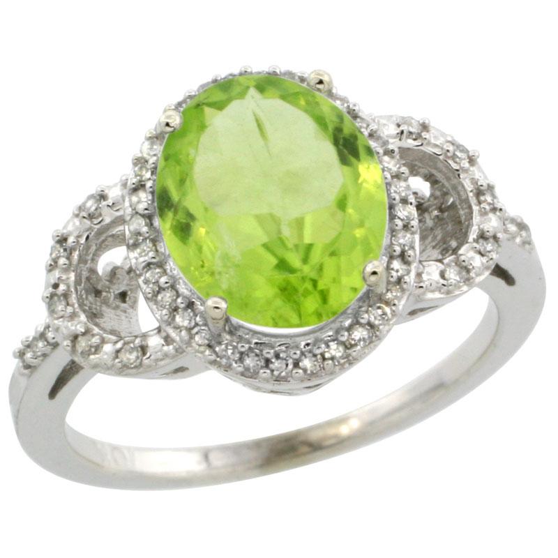 14K White Gold Diamond Natural Peridot Engagement Ring Oval 10x8mm, sizes 5-10