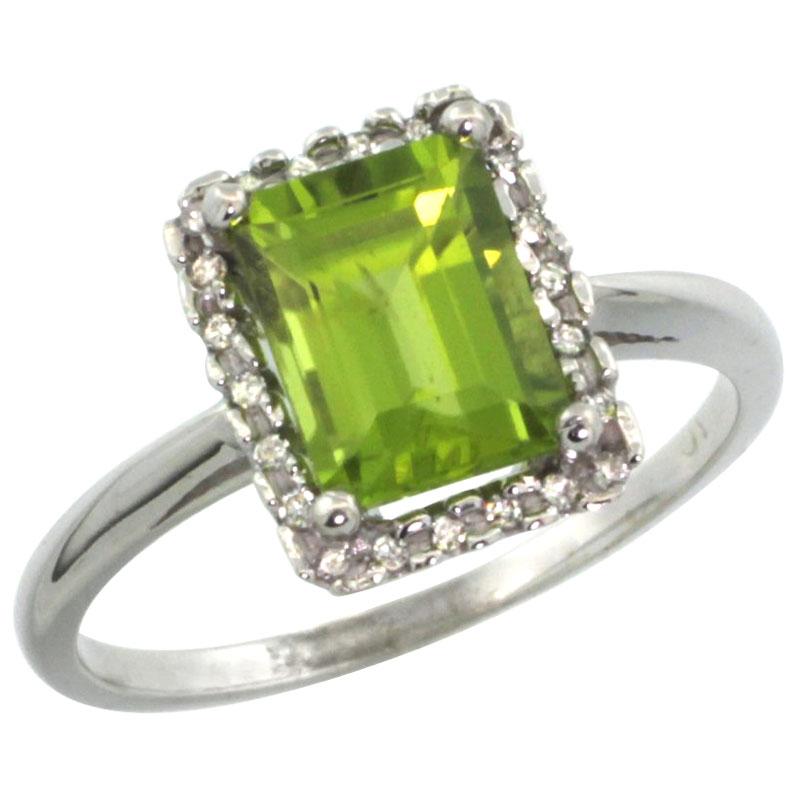 14K White Gold Diamond Natural Peridot Ring Emerald-cut 8x6mm, sizes 5-10