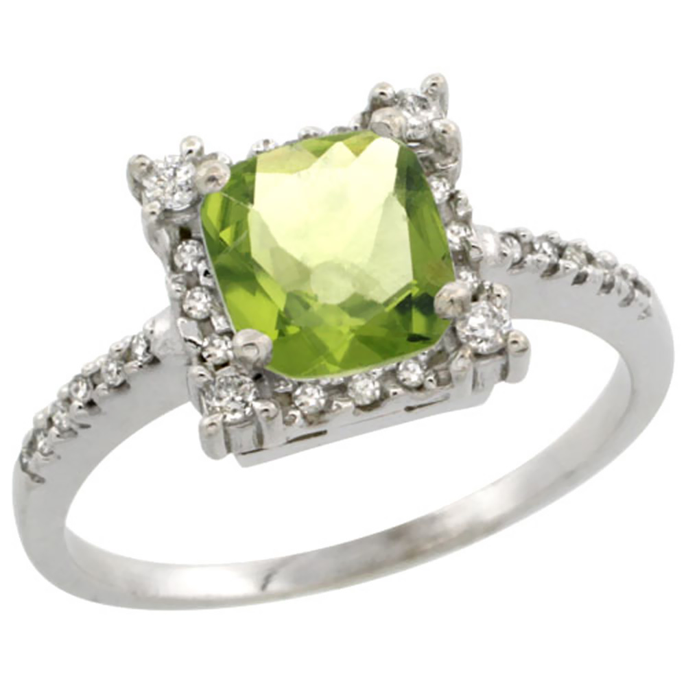 14K White Gold Natural Peridot Ring Cushion-cut 6x6mm Diamond Halo, sizes 5-10