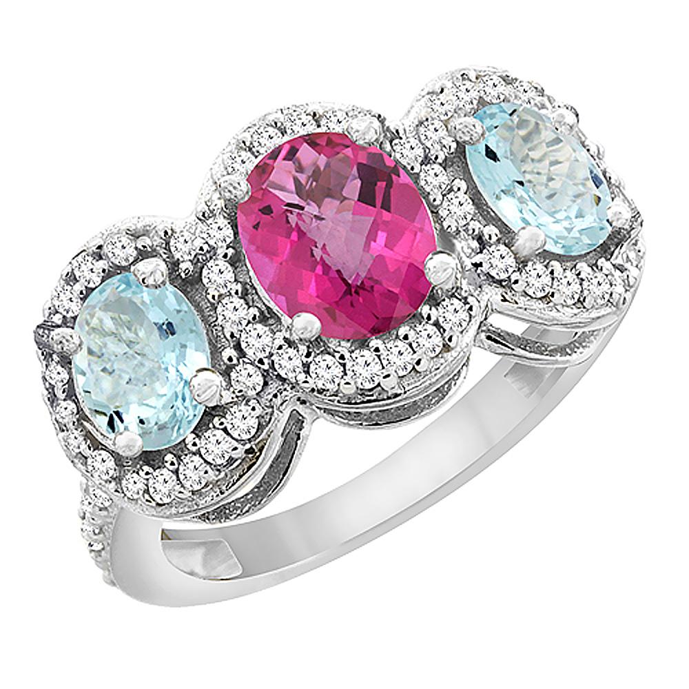 14K White Gold Natural Pink Sapphire & Aquamarine 3-Stone Ring Oval Diamond Accent, sizes 5 - 10