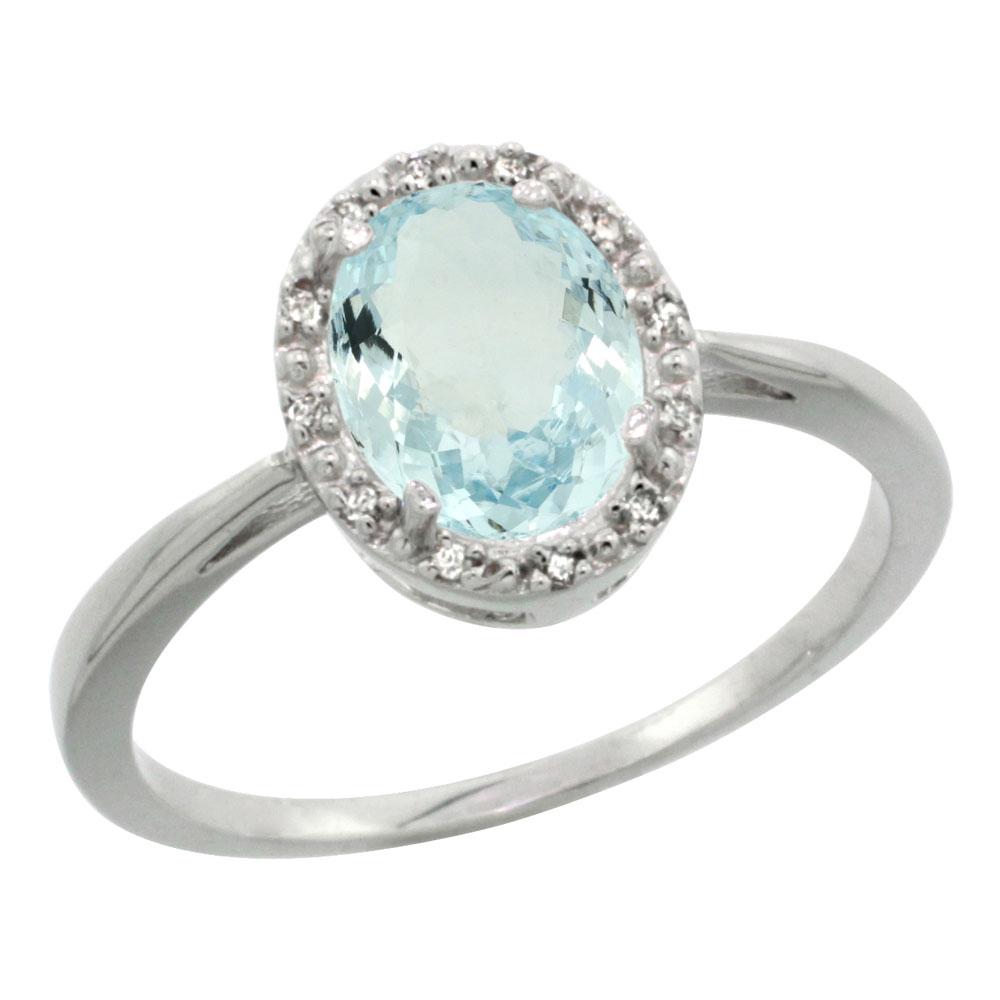 10K White Gold Natural Aquamarine Diamond Halo Ring Oval 8X6mm, sizes 5-10