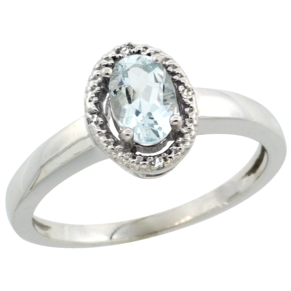 10K White Gold Diamond Halo Natural Aquamarine Engagement Ring Oval 6X4 mm, sizes 5-10