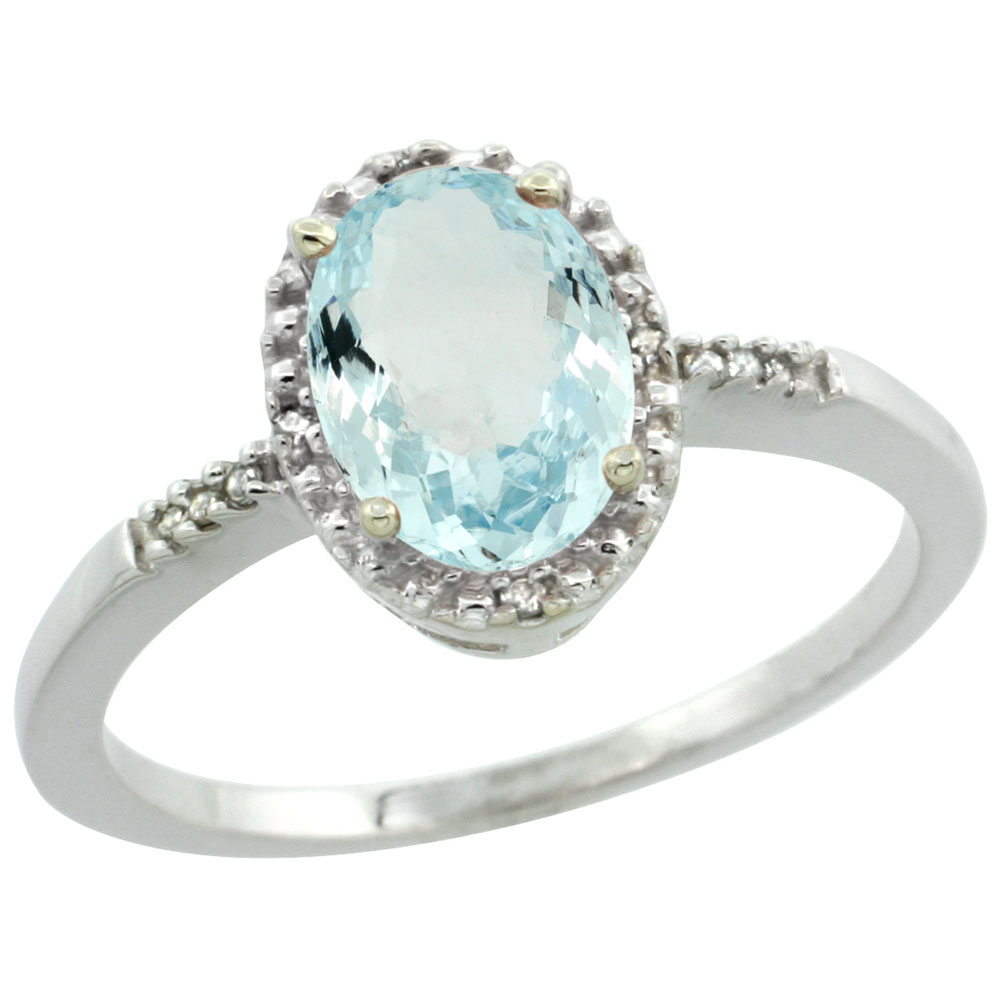 10K White Gold Diamond Natural Aquamarine Ring Oval 8x6mm, sizes 5-10