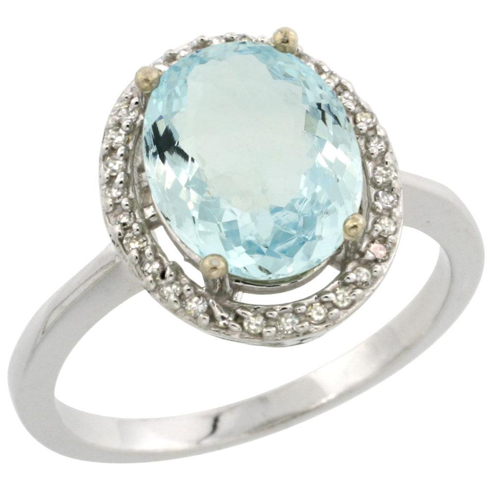 10K White Gold Diamond Natural Aquamarine Engagement Ring Oval 10x8mm, sizes 5-10