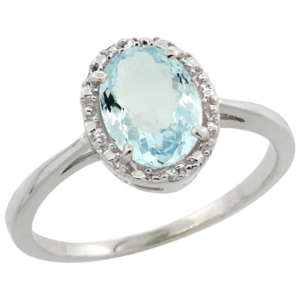 10k White Gold Natural Aquamarine Ring Oval 8x6 mm Diamond Halo, sizes 5-10