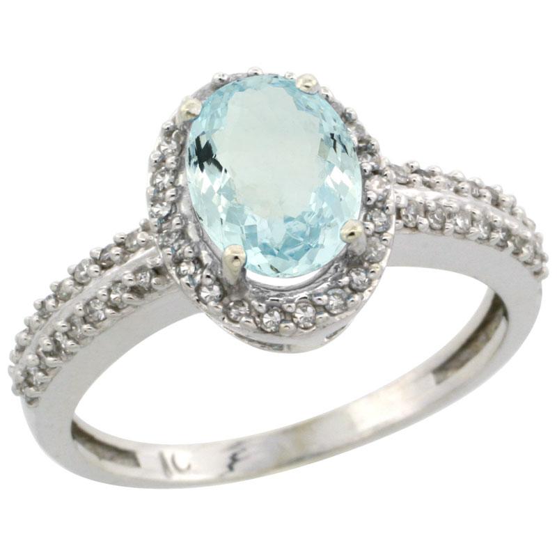 10k White Gold Natural Aquamarine Ring Oval 8x6mm Diamond Halo, sizes 5-10