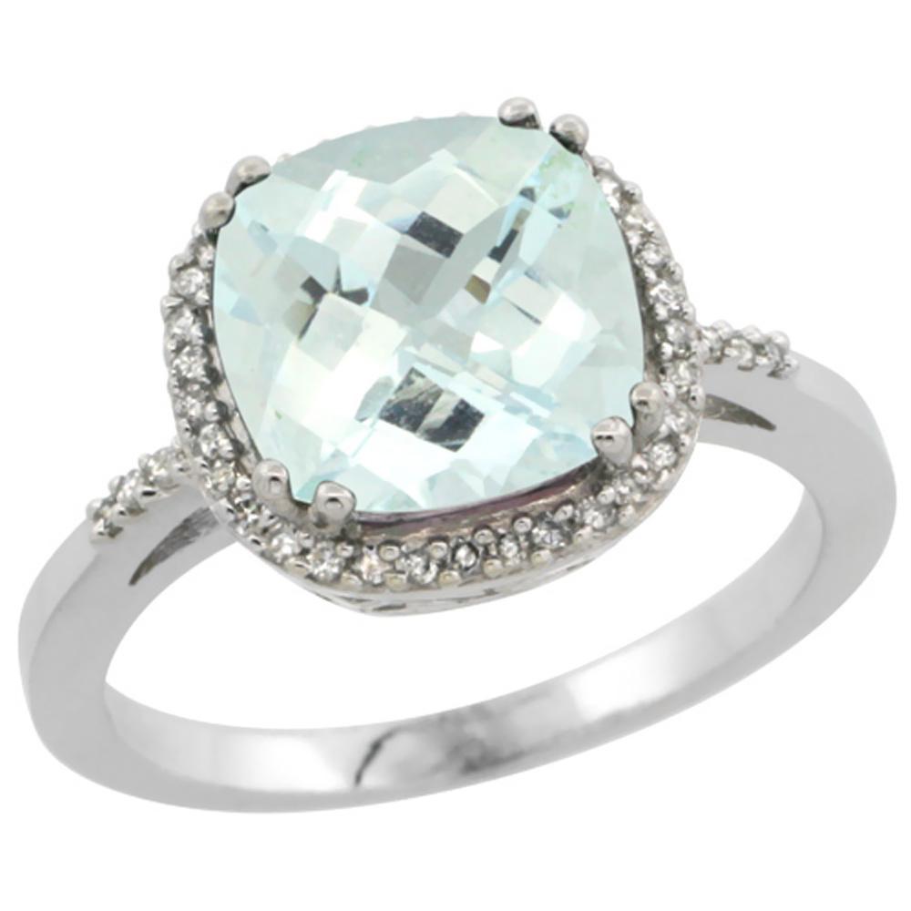 10K White Gold Diamond Natural Aquamarine Ring Cushion-cut 9x9mm, sizes 5-10