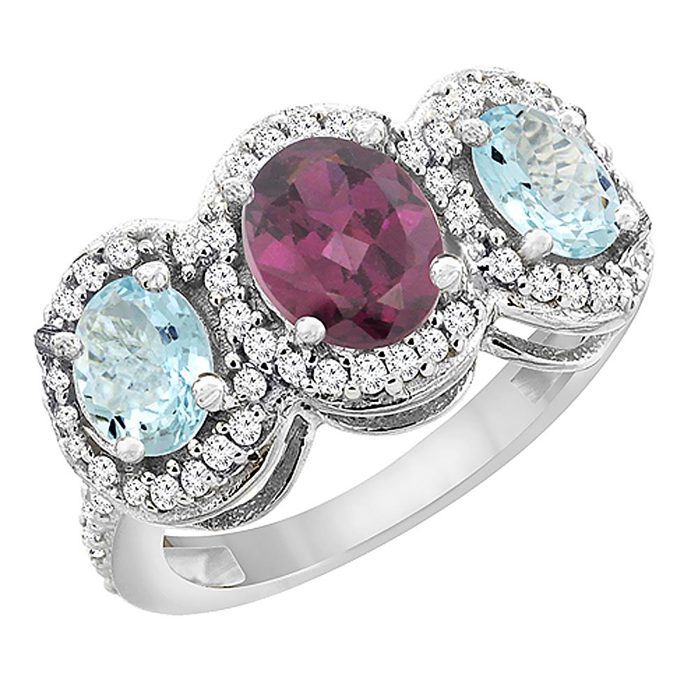 10K White Gold Natural Rhodolite & Aquamarine 3-Stone Ring Oval Diamond Accent, sizes 5 - 10