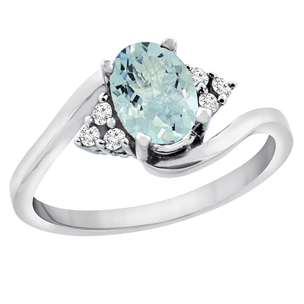 14K White Gold Diamond Natural Aquamarine Engagement Ring Oval 7x5mm, sizes 5 - 10