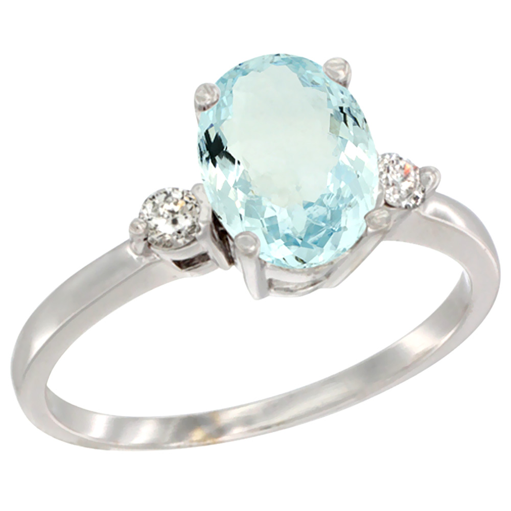 14K White Gold Natural Aquamarine Ring Oval 9x7 mm Diamond Accent, sizes 5 to 10