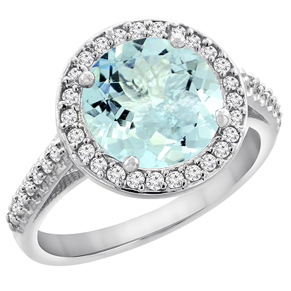 14K White Gold Natural Aquamarine Ring Round 8mm Diamond Halo, sizes 5 to 10