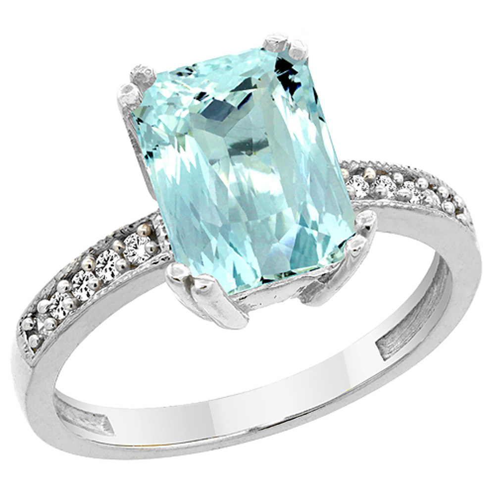 14K White Gold Natural Aquamarine Ring Octagon 10x8mm Diamond Accent, sizes 5 to 10