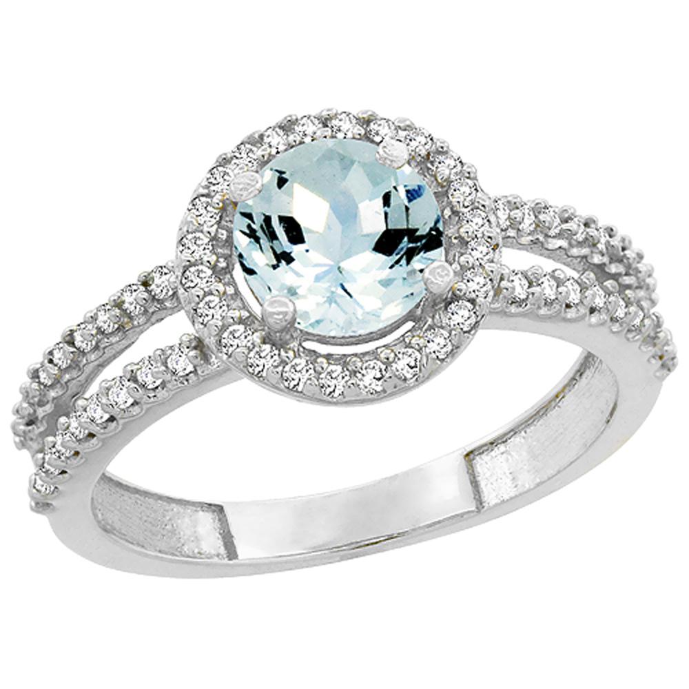 14K White Gold Natural Aquamarine Diamond Halo Ring Round 6mm, sizes 5 - 10
