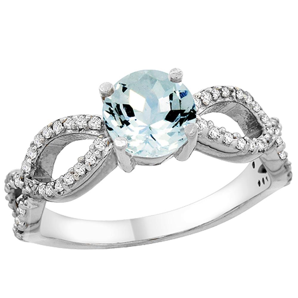 14K White Gold Natural Aquamarine Ring Round 6mm Infinity Diamond Accents, sizes 5 - 10