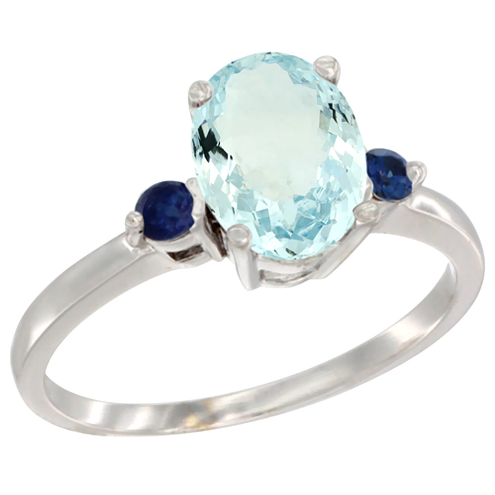 14K White Gold Natural Aquamarine Ring Oval 9x7 mm Blue Sapphire Accent, sizes 5 to 10