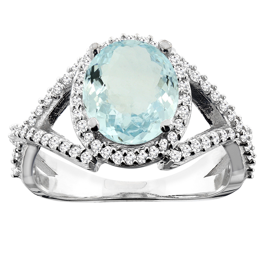 14K White/Yellow/Rose Gold Natural Aquamarine Ring Oval 9x7mm Diamond Accent, sizes 5 - 10