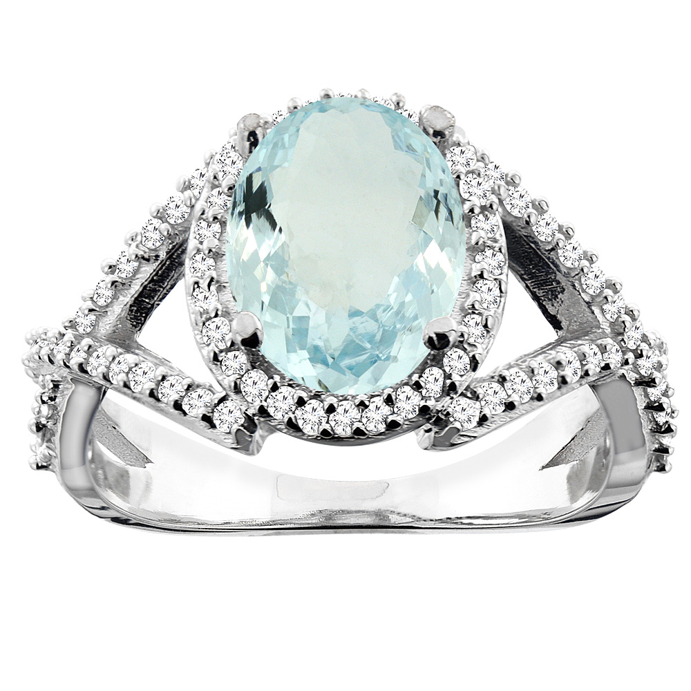 14K White/Yellow/Rose Gold Natural Aquamarine Ring Oval 10x8mm Diamond Accent, sizes 5 - 10