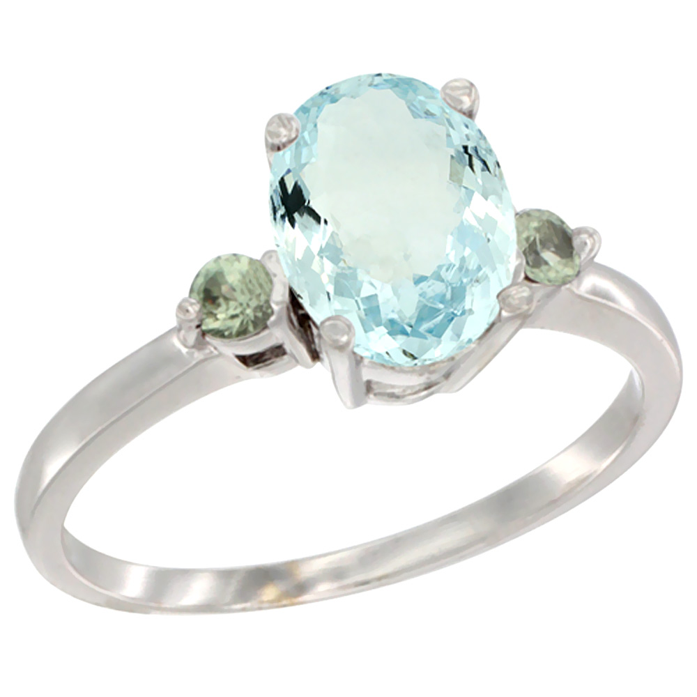 14K White Gold Natural Aquamarine Ring Oval 9x7 mm Green Sapphire Accent, sizes 5 to 10