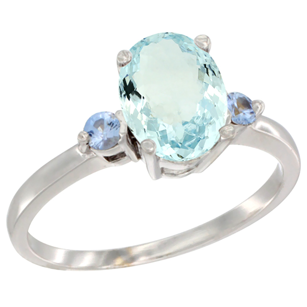 14K White Gold Natural Aquamarine Ring Oval 9x7 mm Light Blue Sapphire Accent, sizes 5 to 10