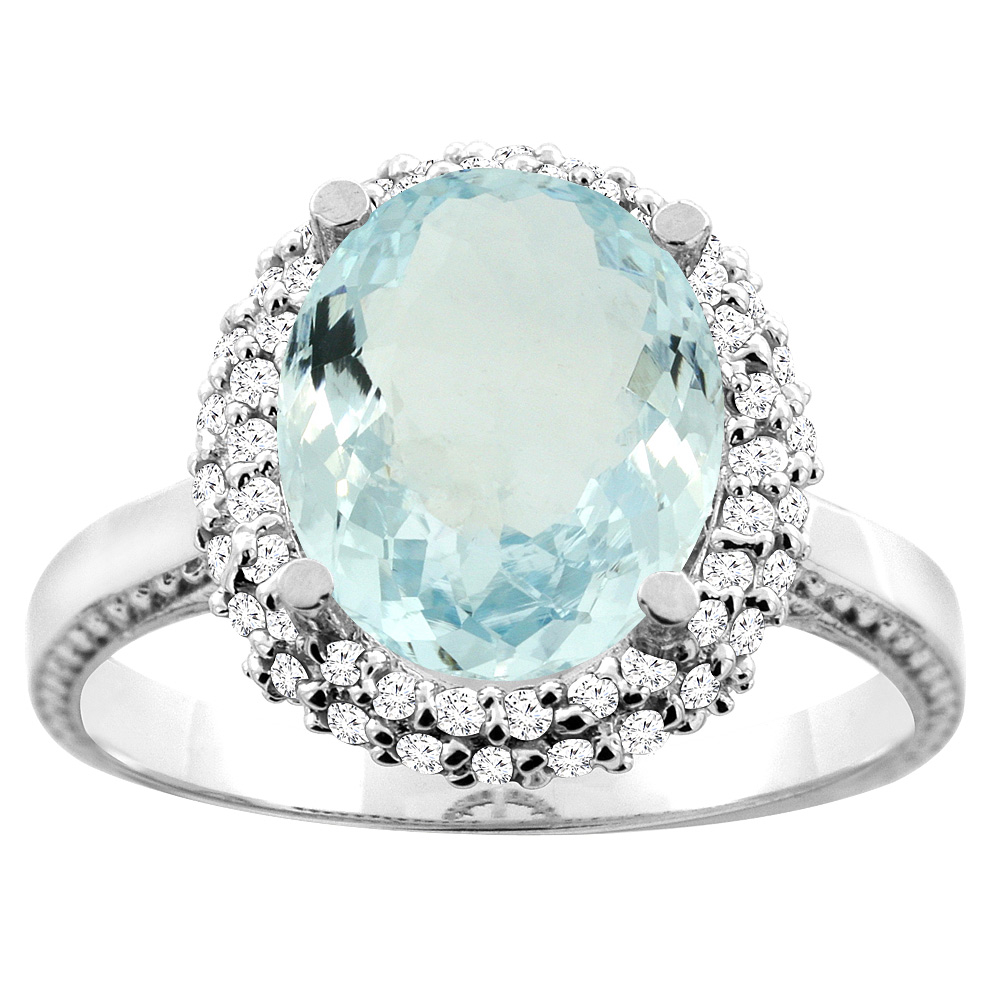 14K White/Yellow Gold Natural Aquamarine Double Halo Ring Oval 10x8mm Diamond Accent, sizes 5 - 10