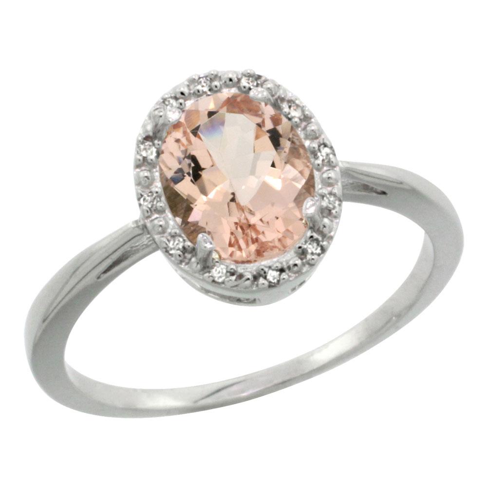 10K White Gold Natural Morganite Diamond Halo Ring Oval 8X6mm, sizes 5-10