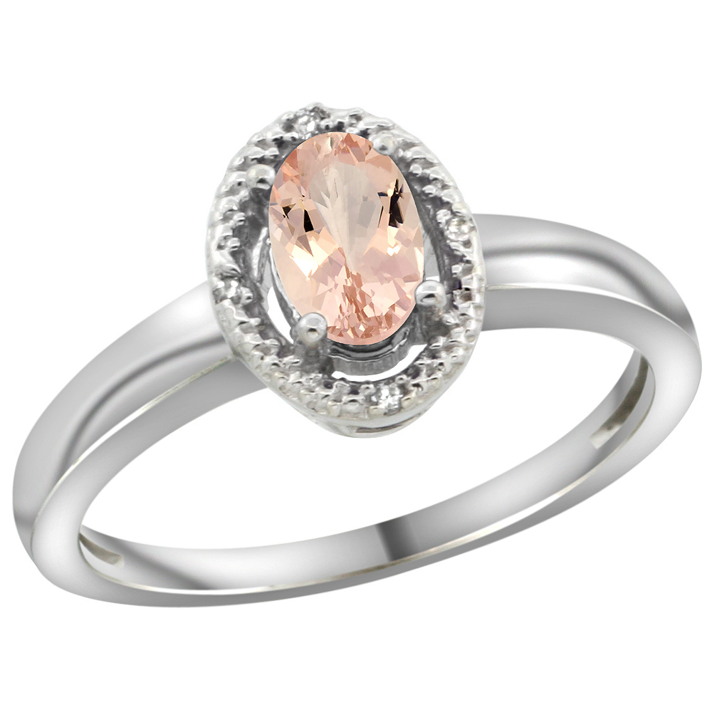 10K White Gold Diamond Halo Natural Morganite Engagement Ring Oval 6X4 mm, sizes 5-10