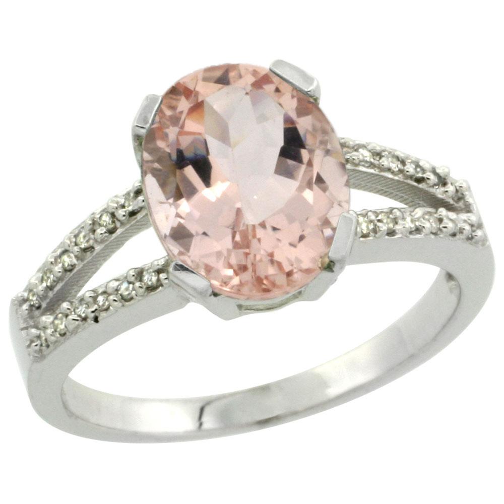 10K White Gold Diamond Natural Morganite Engagement Ring Oval 10x8mm, sizes 5-10