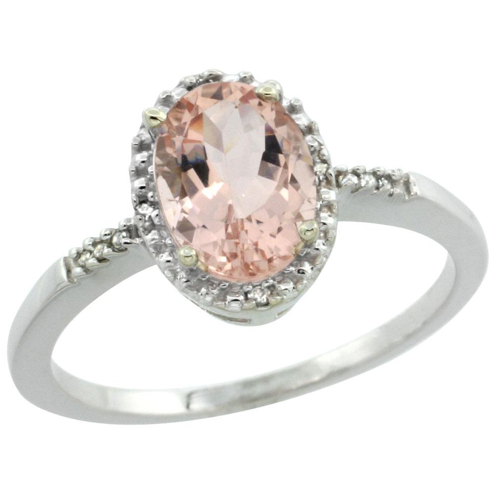 10K White Gold Diamond Natural Morganite Ring Oval 8x6mm, sizes 5-10