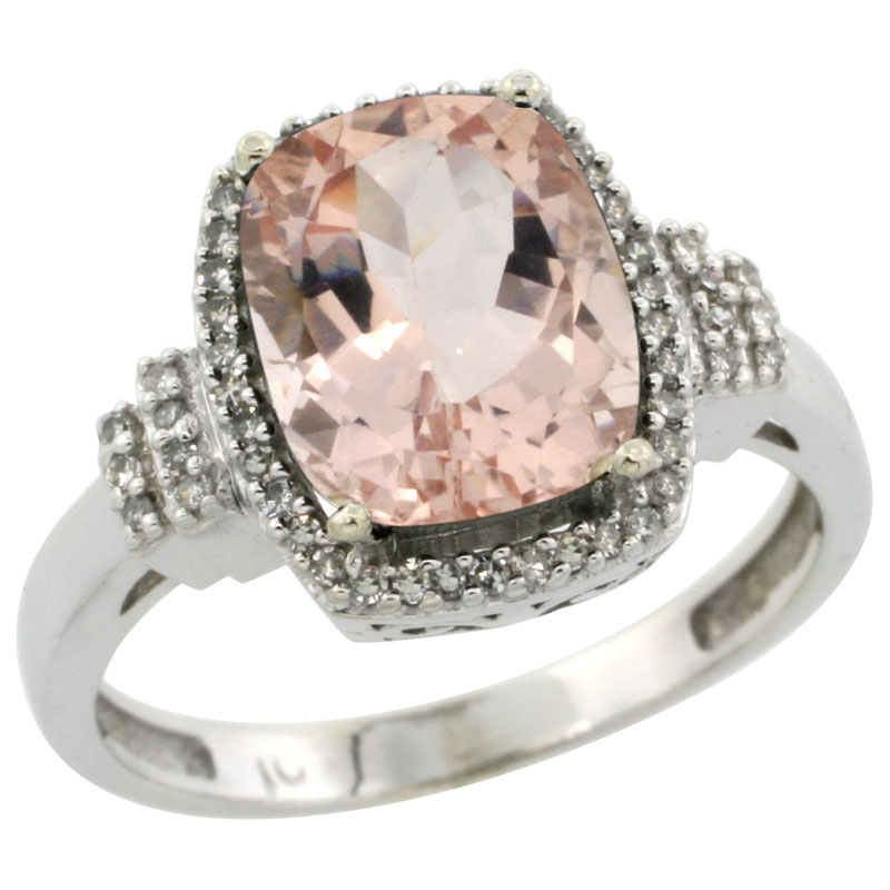 10k White Gold Natural Morganite Ring Cushion-cut 9x7mm Diamond Halo, sizes 5-10
