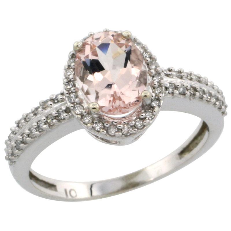 10k White Gold Natural Morganite Ring Oval 8x6mm Diamond Halo, sizes 5-10
