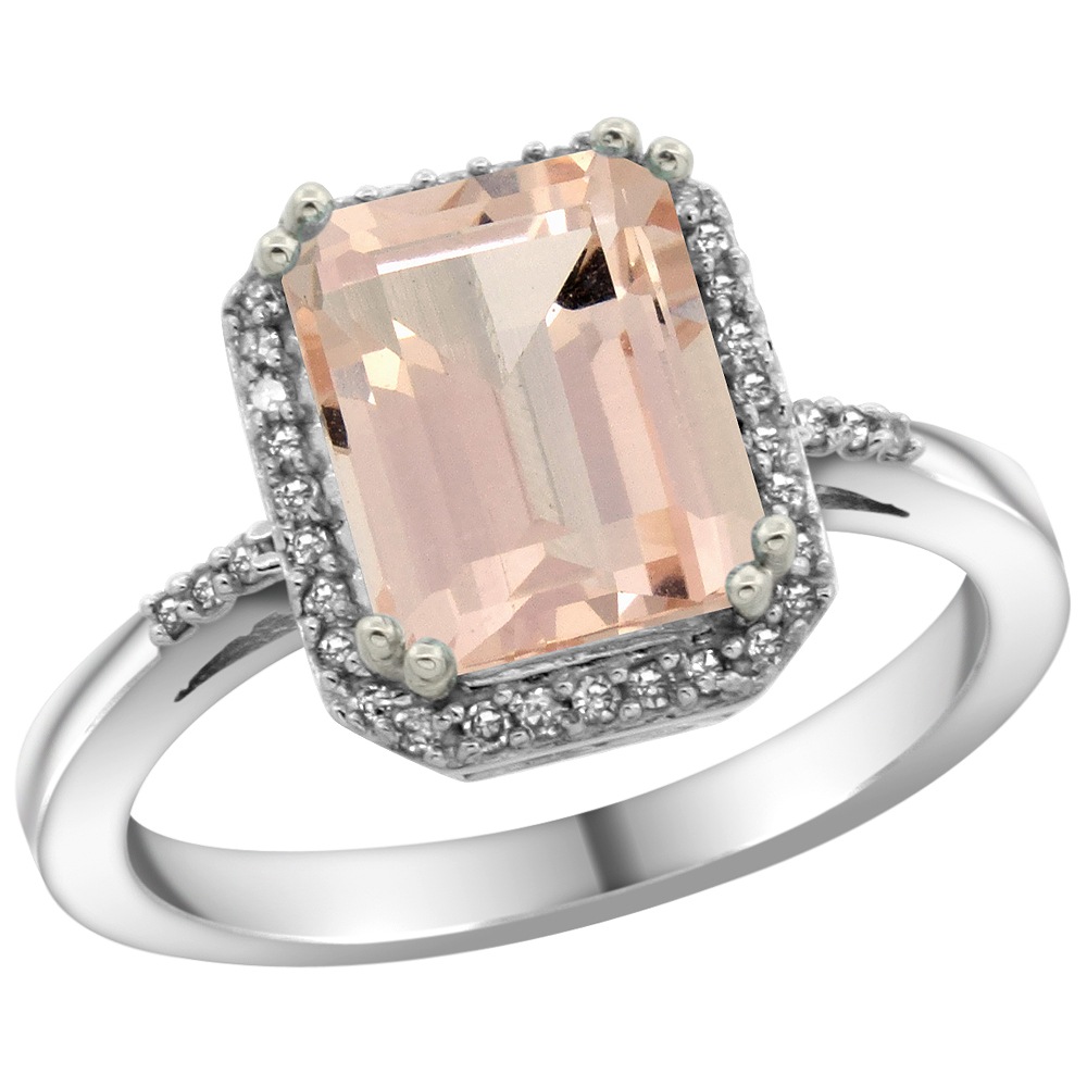 10K White Gold Diamond Natural Morganite Ring Emerald-cut 9x7mm, sizes 5-10