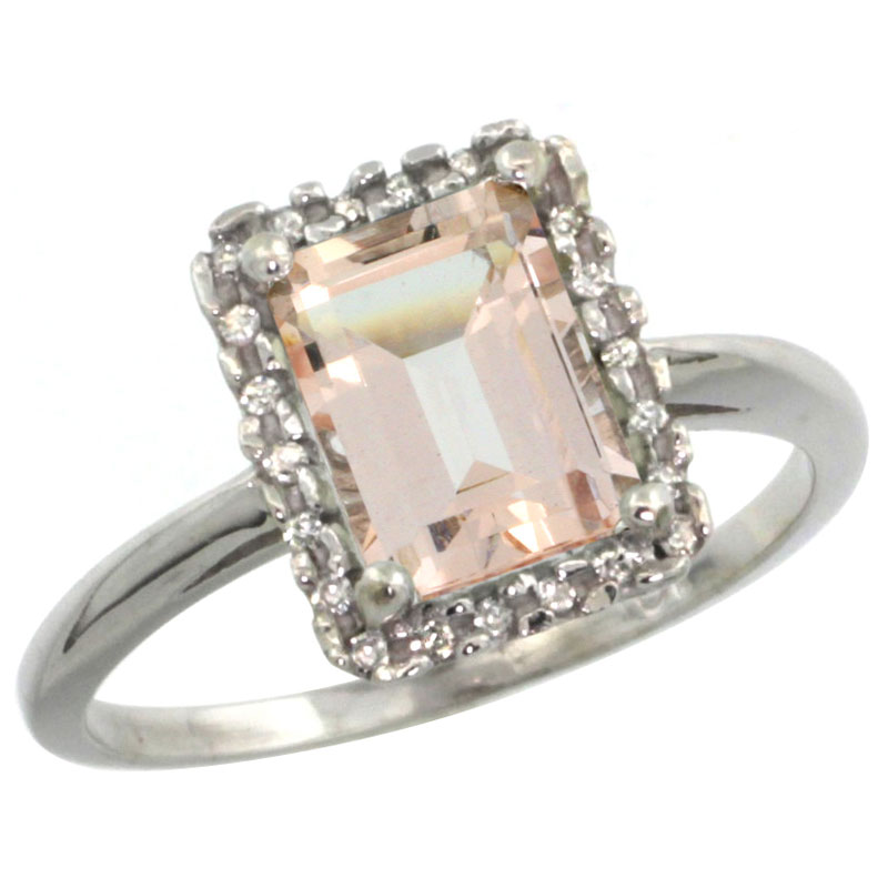 10K White Gold Diamond Natural Morganite Ring Emerald-cut 8x6mm, sizes 5-10