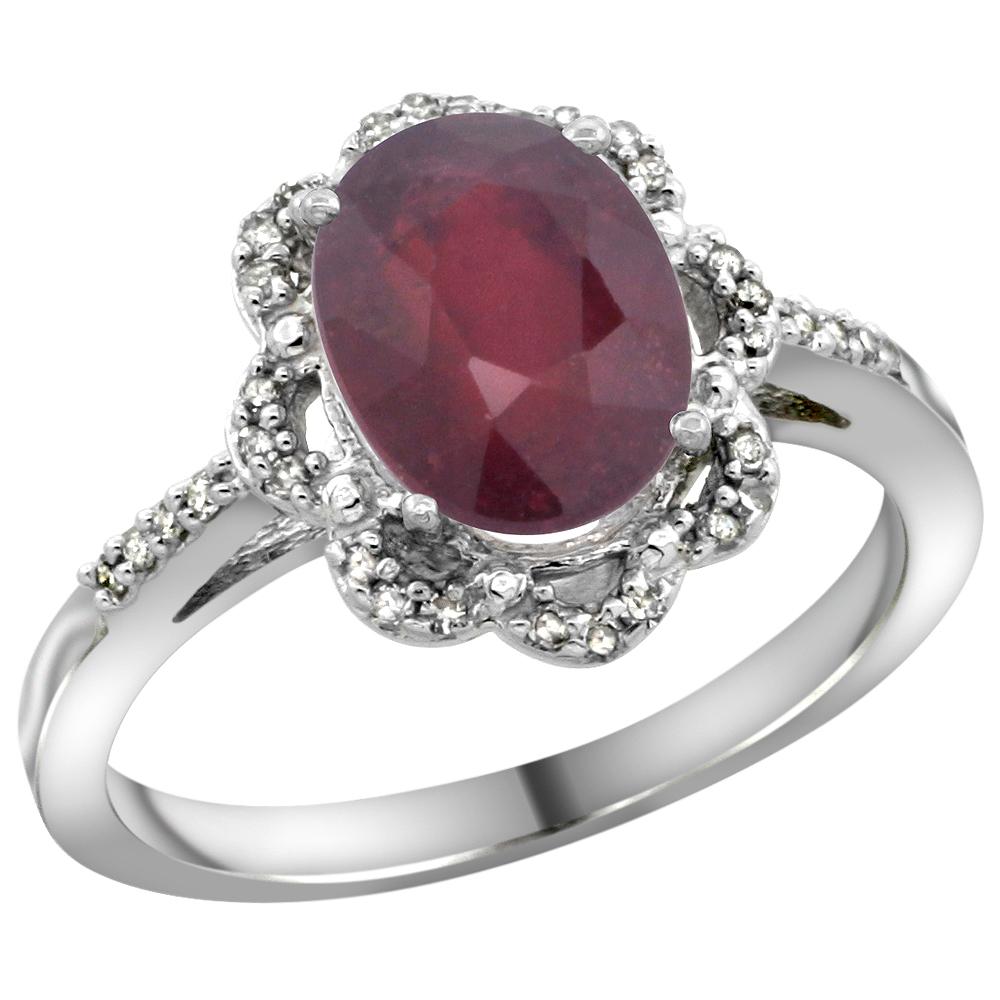 14K White Gold Diamond Halo Enhanced Ruby Engagement Ring Oval 9x7mm, sizes 5-10