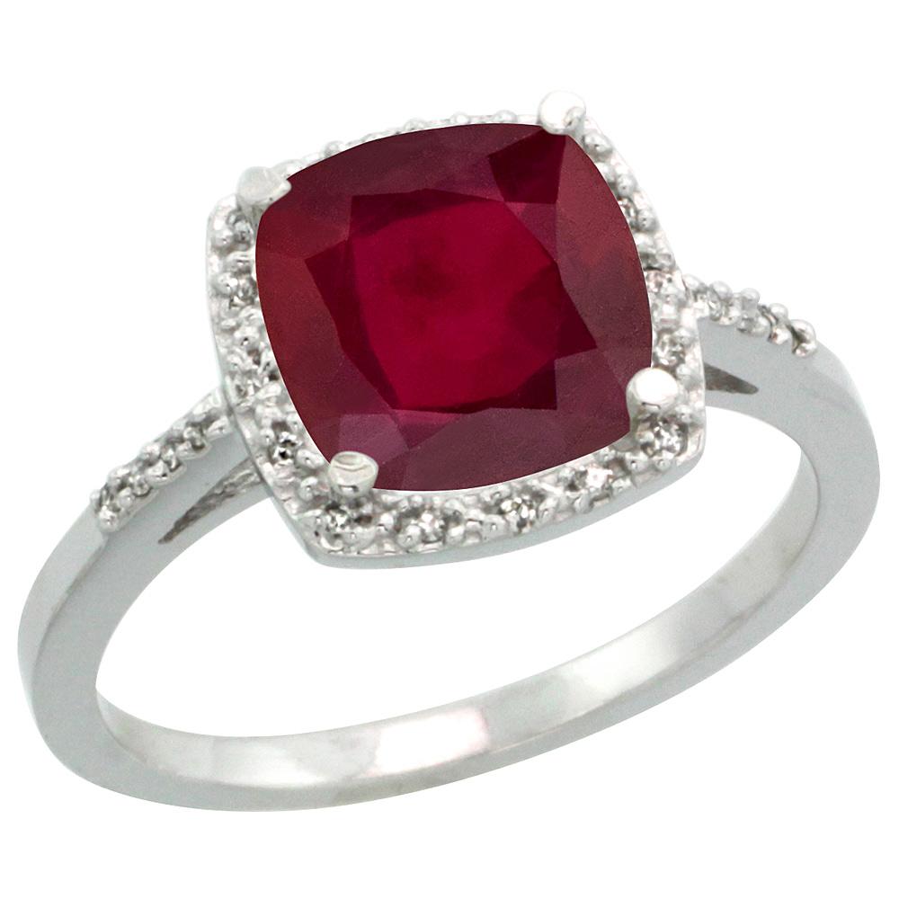 14K White Gold Diamond Enhanced Genuine Ruby Ring Cushion-cut 8x8 mm, sizes 5-10