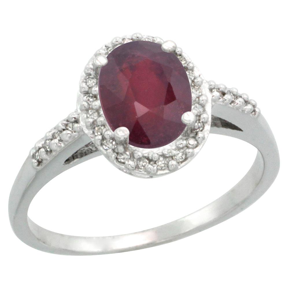 14K White Gold Diamond Enhanced Ruby Ring Oval 8x6mm, sizes 5-10
