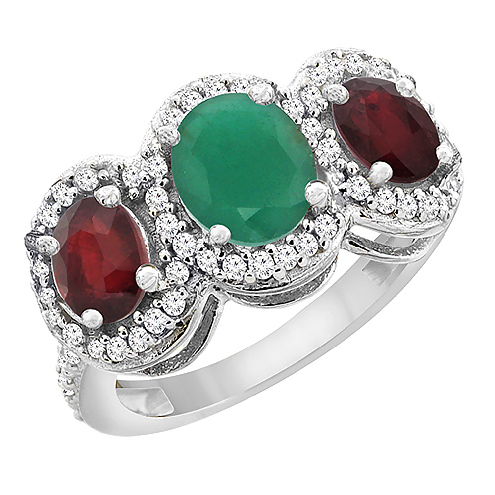 14K White Gold Natural Cabochon Emerald & Enhanced Ruby 3-Stone Ring Oval Diamond Accent, sizes 5 - 10