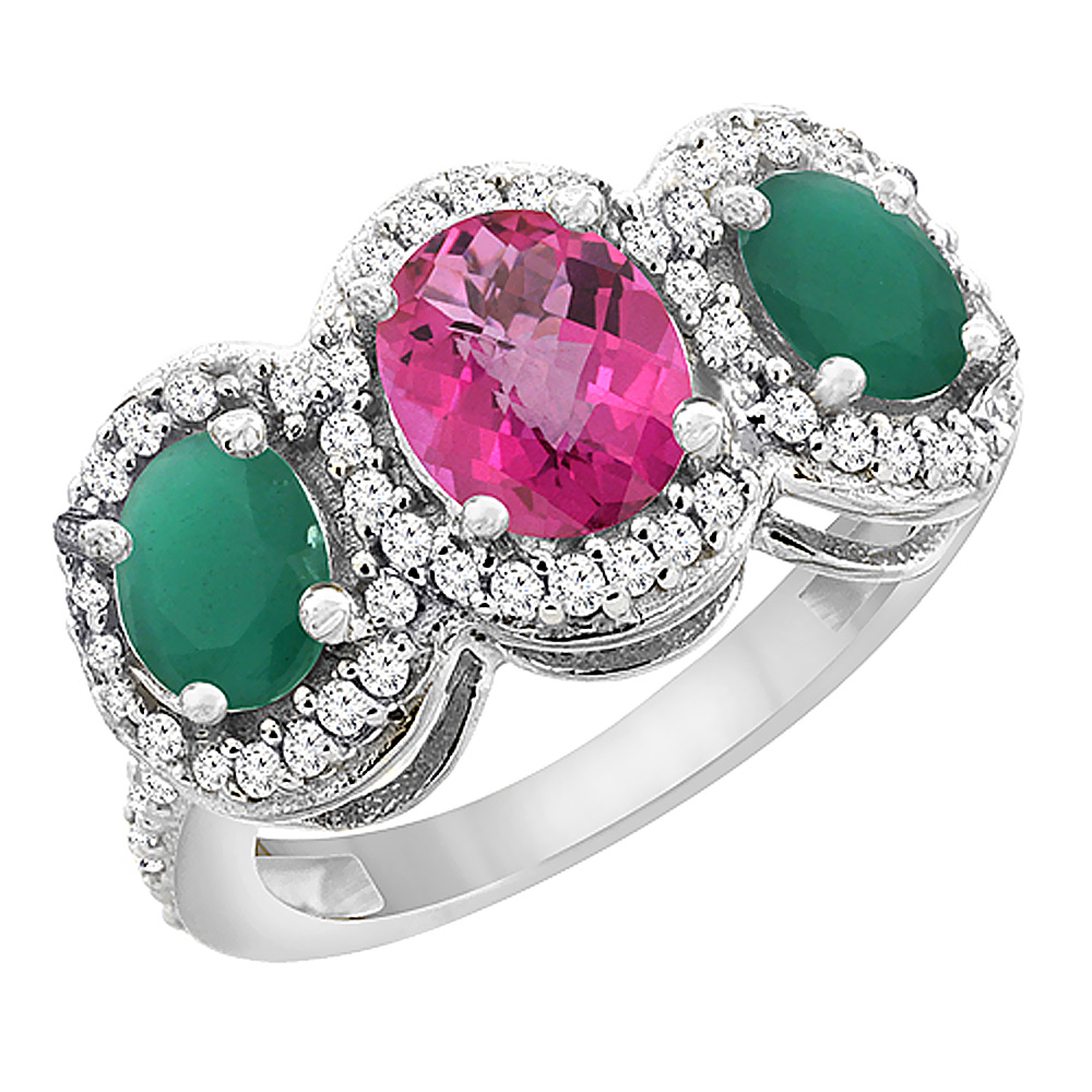 14K White Gold Natural Pink Sapphire & Emerald 3-Stone Ring Oval Diamond Accent, sizes 5 - 10