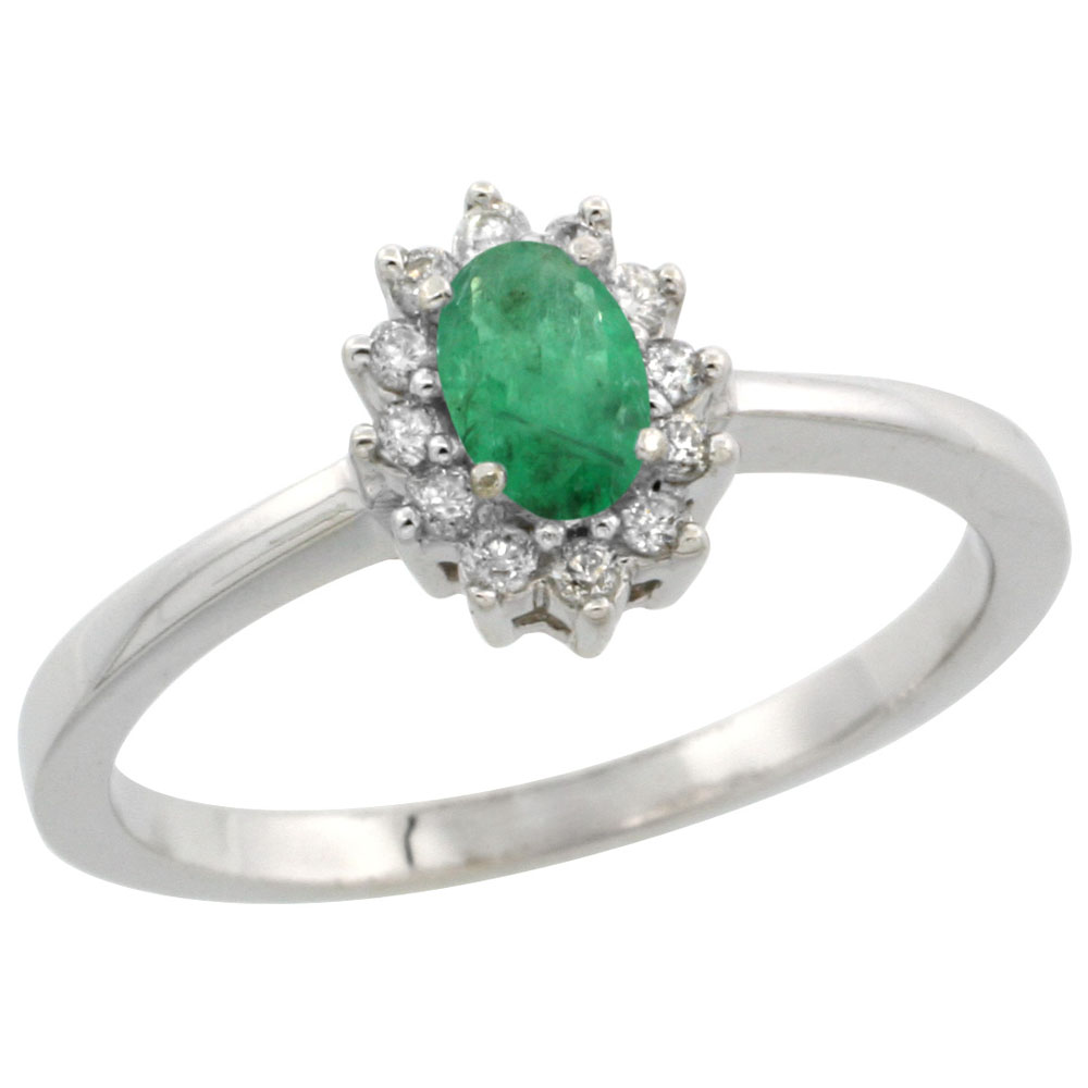14K White Gold Natural Cabochon Emerald Ring Oval 5x3mm Diamond Halo, sizes 5-10