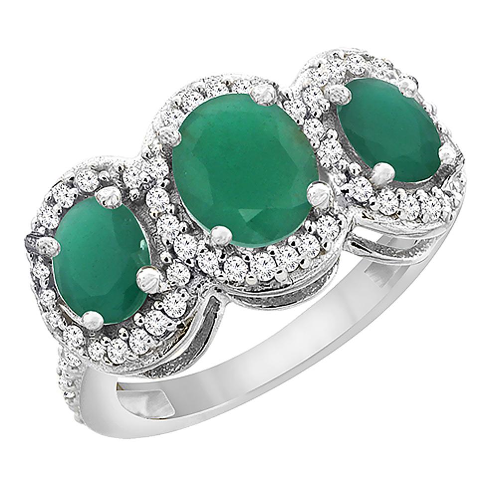 14K White Gold Natural Cabochon Emerald & Emerald 3-Stone Ring Oval Diamond Accent, sizes 5 - 10