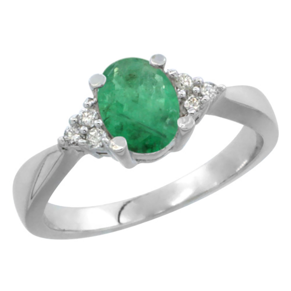 14K White Gold Diamond Natural Emerald Engagement Ring Oval 7x5mm, sizes 5-10