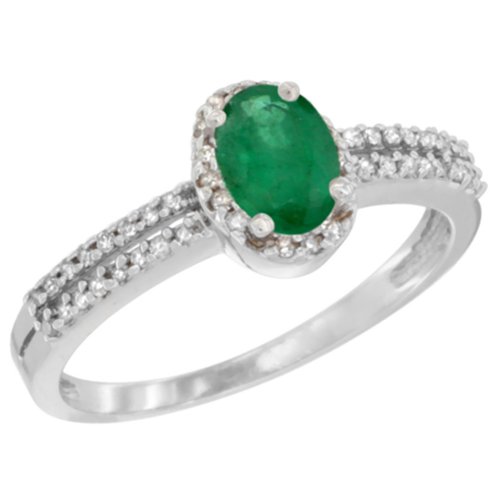 14K White Gold Natural Cabochon Emerald Ring Oval 6x4mm Diamond Accent, sizes 5-10